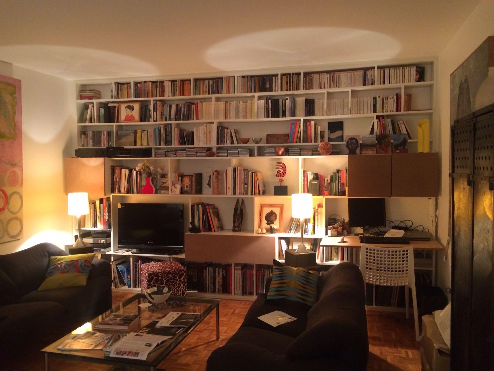 2015 12 Bibliothèque Mélaminé Blanc Avec Caissons