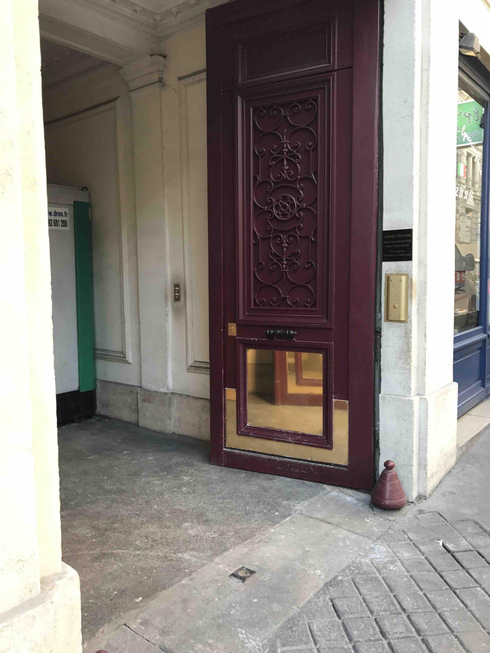 Parement Laiton Sur Porte Cochère Paris 9
