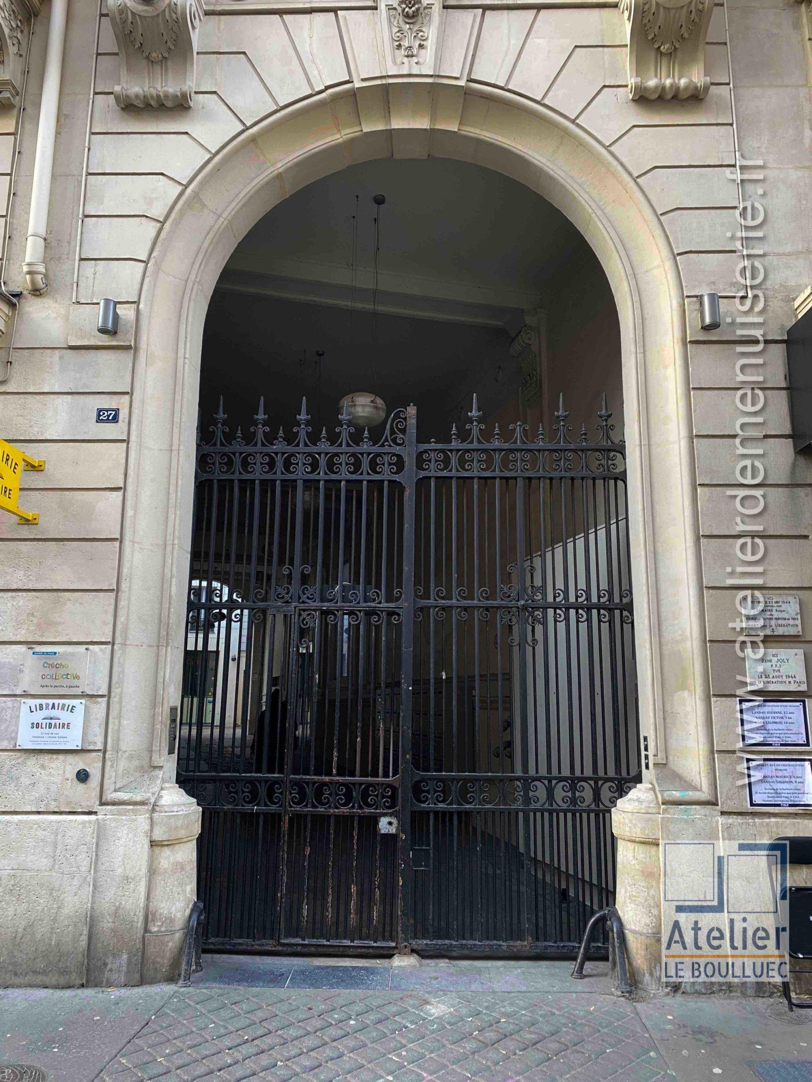 Porte Grille Acier - 25 RUE DU CHATEAU D\'EAU PARIS 10