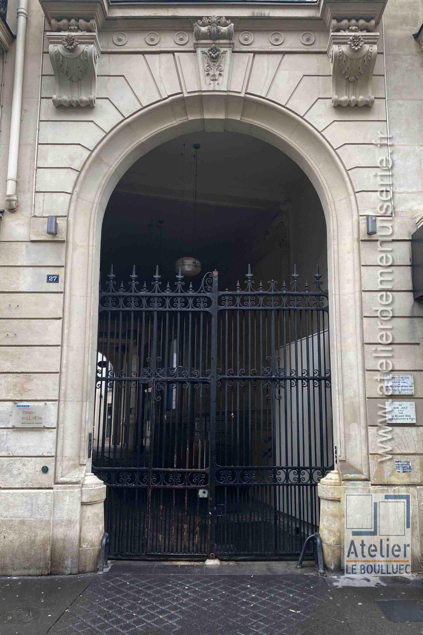 Porte Grille Acier - 27 RUE DU CHATEAU D\'EAU PARIS 10