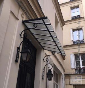 2014 11 Marquise Acier Sur Porte Immeuble Hausmannien Paris 8