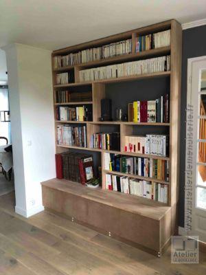 2018 04 Bibliothèque En Lamellé Collé Abouté Hêtre