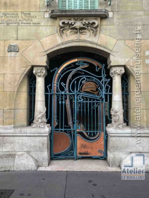 Porte Art Nouveau - 14 RUE DE LAFONTAINE PARIS 16 PORTE RUE